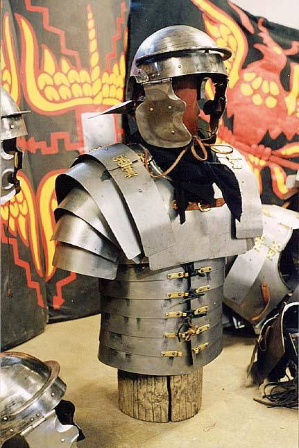Close-up of helmet and lorica